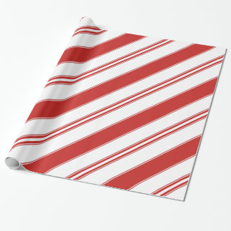 Trendy Christmas Candy Cane Stripes Wrapping Paper
