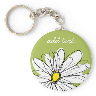 Trendy Daisy Floral Illustration - lime and yellow Keychain