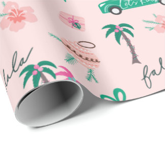 Tropical Christmas Fala Lets Roll Teal Convertible Wrapping Paper