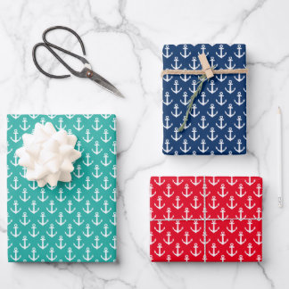 Tropical Christmas in July nautical anchor pattern Wrapping Paper Sheets