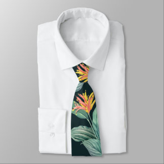 Tropical Flowers and Leaves on Dark Teal Green Neck Tie
