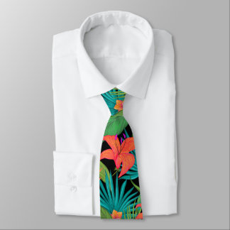 Tropical flowers and palm leaves Hawaiian Neck Tie