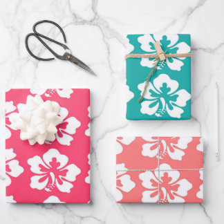 Tropical Hawaiian Hibiscus Flowers Wrapping Paper Sheets