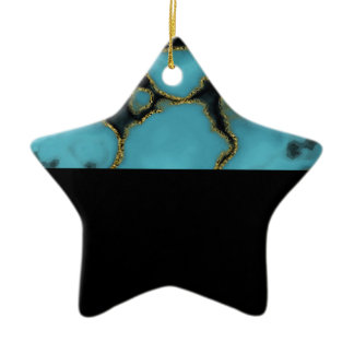 Turquoise Stone Gold and Black Ceramic Ornament
