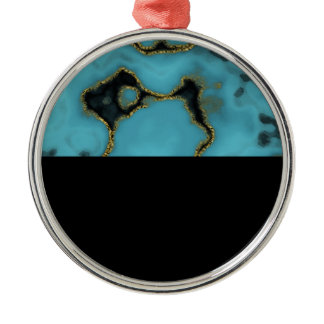 Turquoise Stone Gold and Black Metal Ornament