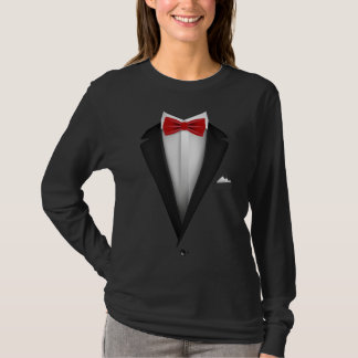 Tuxedo design with Red Bowtie For Weddings T-Shirt