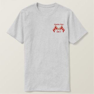 Twin Flags Canada Embroidered T-Shirt
