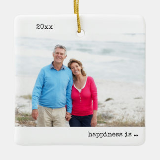 Two Photo Happiness is Family Christmas Minimalist Ceramic Ornament
