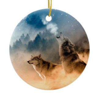 Two wolves howl at the full moon in forest ceramic ornament