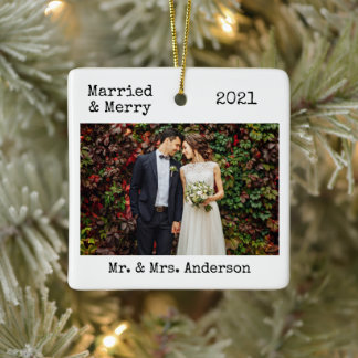 Typewriter Text Married and Merry Wedding Photo Ceramic Ornament