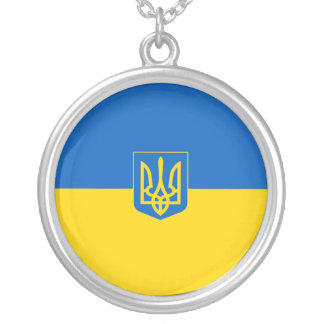 Ukrainian flag-Coat of arms Silver Plated Necklace
