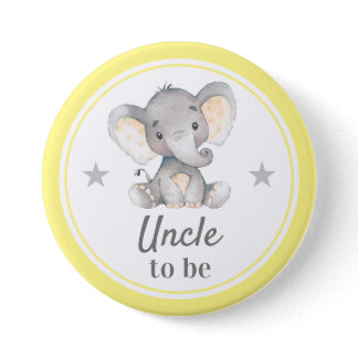 Uncle to be Gift Yellow Gray Elephant Baby Shower Button