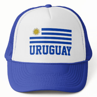 Uruguay Flag With Customizable Blue Text Trucker Hat