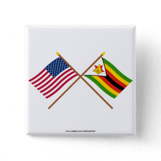 US and Zimbabwe Crossed Flags Button