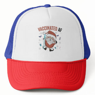 Vaccinated af Funny Christmas Vaccinated Santa Trucker Hat