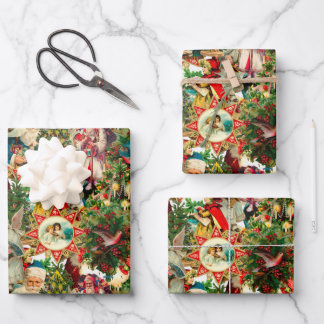 VICTORIAN CHRISTMAS COLLAGE WRAPPING PAPER SHEETS