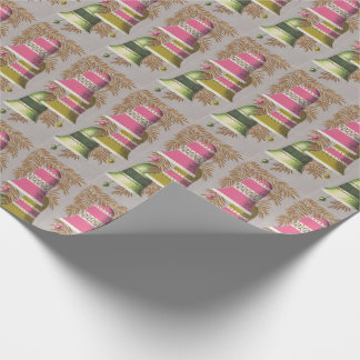 Vintage 1950's Pretty Christmas Bells Pink Green  Wrapping Paper