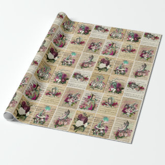 Vintage Alice in Wonderland Collage Christmas Gift Wrapping Paper