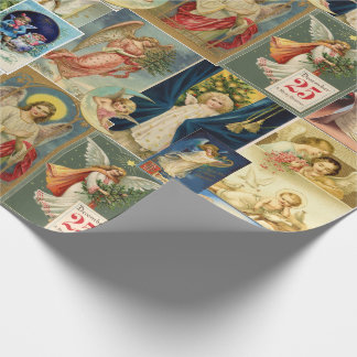 Vintage Angel Victorian Christmas Cards Collage Wrapping Paper