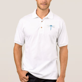 vintage blue dragonfly watercolor polo shirt