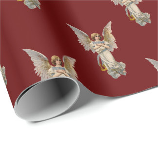 Vintage Christmas Angel Dark Red Holiday Wrapping Wrapping Paper