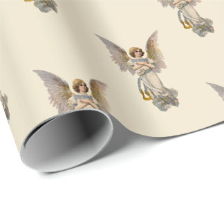 Vintage Christmas Angel Ivory Holiday Wrapping Paper