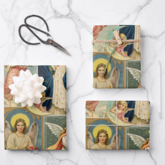 Vintage Christmas Angel Victorian Cards Wrapping Paper Sheets