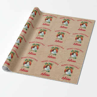 Vintage Christmas Cat Holiday Custom Name Kraft Wrapping Paper