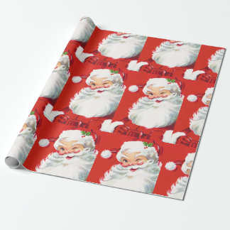 Vintage Christmas Cute Santa Claus Winking Wrapping Paper