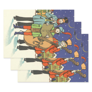 Vintage Christmas, Musicians Caroling with Music Wrapping Paper Sheets