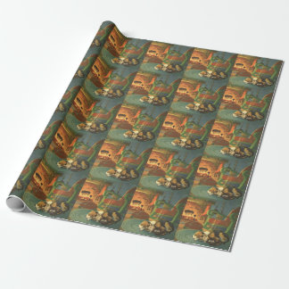 Vintage Christmas, Sleeping Animals by Fireplace Wrapping Paper