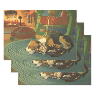 Vintage Christmas, Sleeping Animals by Fireplace Wrapping Paper Sheets