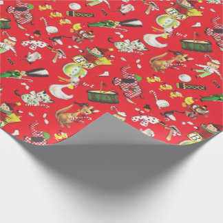 Vintage Christmas Toys Drum Soldier Jack in Box  Wrapping Paper