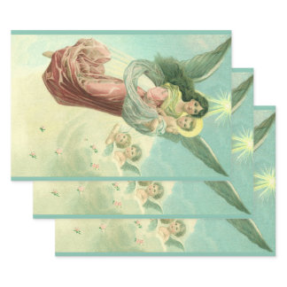 Vintage Christmas, Victorian Angel with Baby Jesus Wrapping Paper Sheets