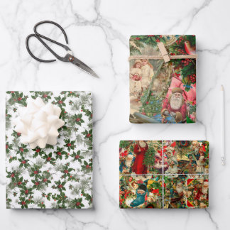 Vintage Christmas wrapping paper trio