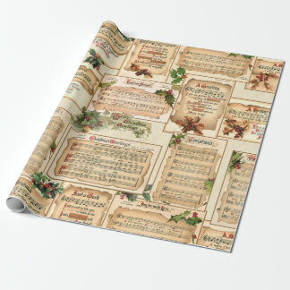 Vintage Floral Christmas Music on Antique Scrolls Wrapping Paper