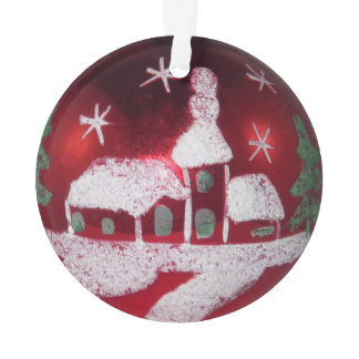 Vintage Glass Ball Red Christmas Snowy House Ornament