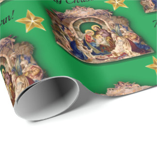 Vintage Nativity Merry Christmas A Child Is Born Wrapping Paper