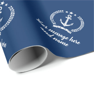 Vintage navy blue nautical boat anchor custom wrapping paper