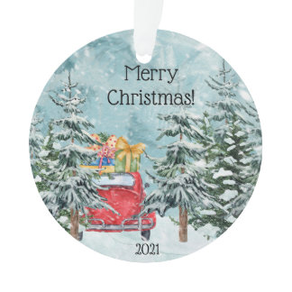Vintage Red Car and Barn Woodland Scene  Ornament