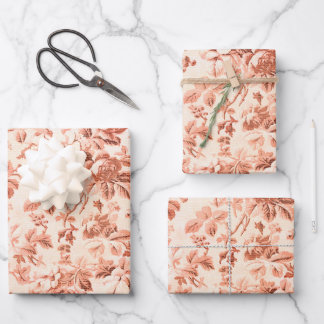 Vintage Red Floral Toile Wrapping Paper Sheets