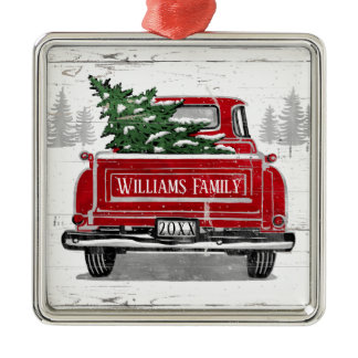 Vintage Red Truck with Christmas Tree Family Name Metal Ornament