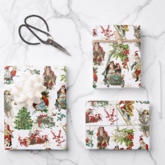 Vintage Retro Festive Christmas Holiday  Wrapping Paper Sheets