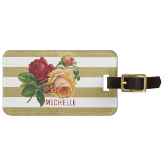 Vintage Rose, Gold-Stripe Personalized Luggage Tag