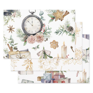 Vintage Watercolor Christmas Wrapping Paper Sheets