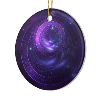 Violet and Blue Geometry of a Celestial Wormhole Ceramic Ornament