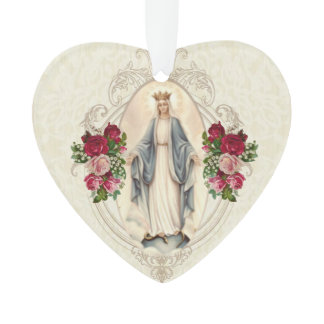 Virgin Mary Religious Vintage Roses Lace Ornament