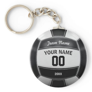 Volleyball Player's Name Year Team Black and White Keychain