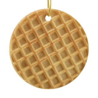 Waffle Patterned Ceramic Ornament