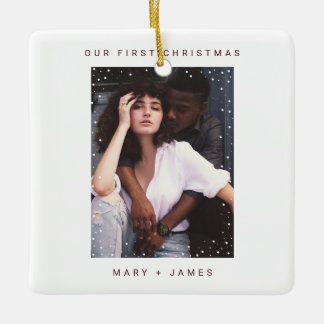 Warm Burgundy Red | Merry and Married Photo Ceramic Ornament